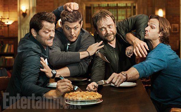 Misha Collins, Jensen Ackles, Mark Shepherd, and Jared Padalecki going at the pie for their SPN EW photoshoot! Supernatural won yet another grand competition everyone! Much love to these four men, and everyone else in the Supernatural Family!