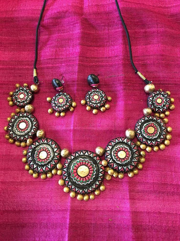 Handmade Terracotta Jewelry, Clay Jewelry, Ethnic Terracotta Jewelry - Black