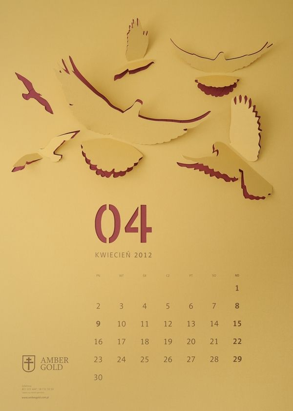 """Cut Out"" Wall Calendar by TOFU STUDIO , via Behance Try something similar in fabric, embroider, cut, fold."