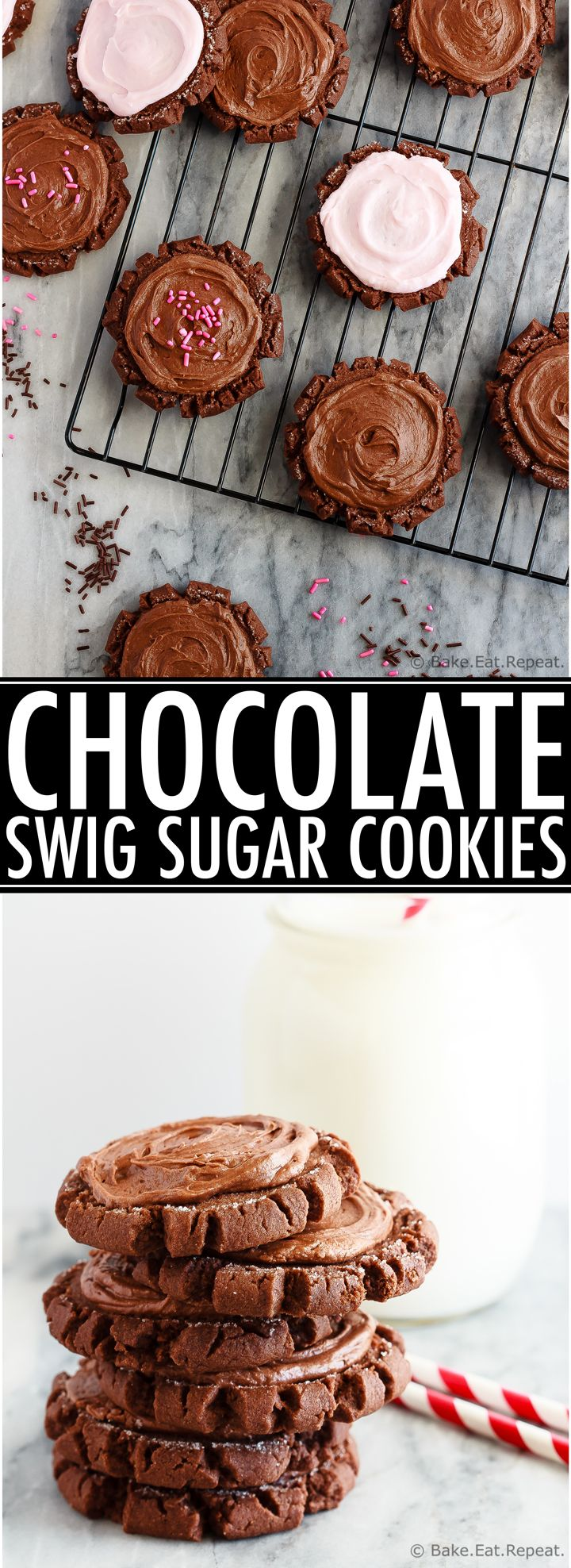 Chocolate Swig sugar cookies - soft baked sugar cookies that are perfect for Valentine's Day.  Possibly the best sugar cookies I've ever tried!