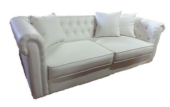 白い合皮の3人掛けソファー チェスターフィールド スタイル119PU2/W   高級ソファー、輸入家具の通販サイトPtio(パティオ)