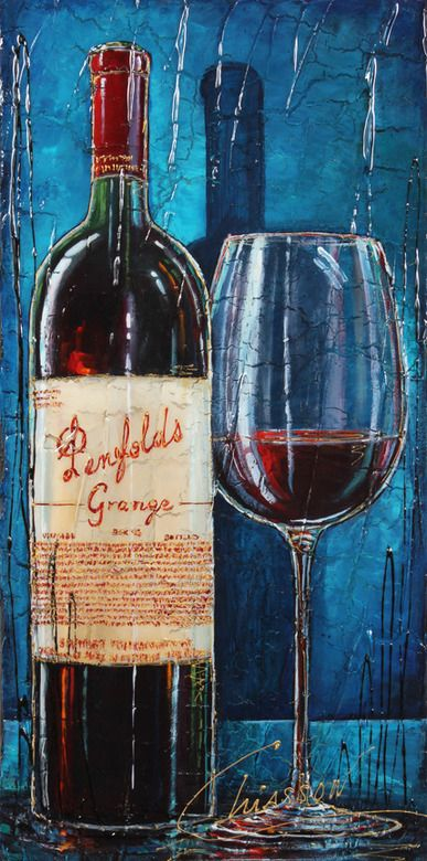 Red Wine Bottle & glass Art - Penefolds Grange Wine Labels Art by Nathalie Chiasson #cCreams #cBlues #cRed