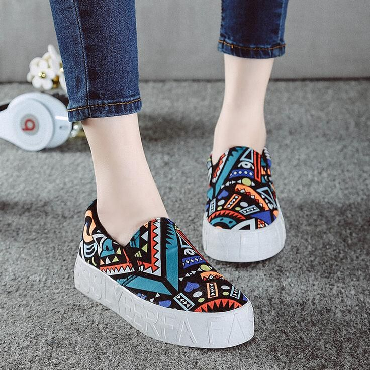 Aliexpress.com : Buy Graffiti Thick Bottom Fashion Ladies Shoes sapatilhas…