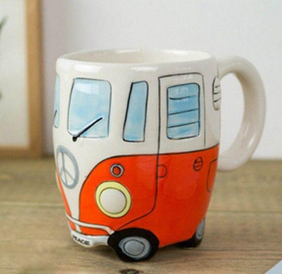 Autobús de Dos Pisos de dibujos animados Pintura de la Mano Retro taza de Cerámica Taza de Café Taza De Leche y Té Tazas Drinkware Novetly Regalos 1 unid en Tazas/Mugs/Tarros de Hogar y Jardín en AliExpress.com | Alibaba Group