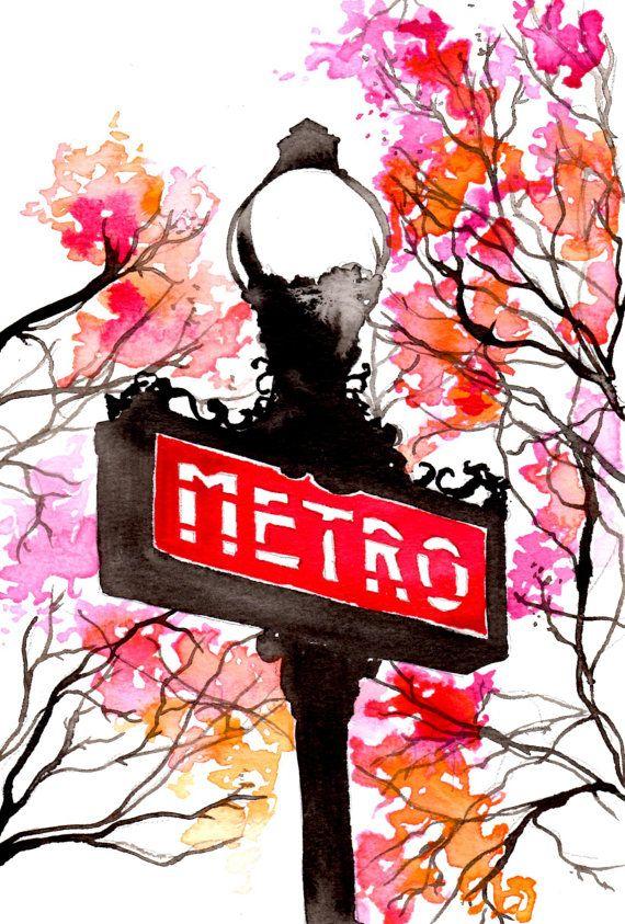 Paris au printemps, imprimer à partir d'une illustration aquarelle et plume originale par Jessica Durrant