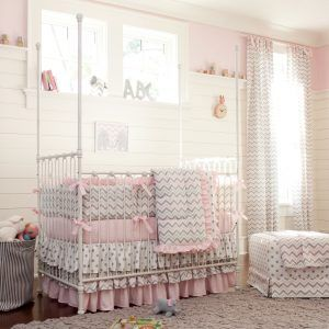 Pink And Grey Chevron Baby Bedding Sets