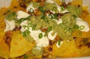 Nachos plate- with beans, fresh made guacamole, cheese and creme fraiche
