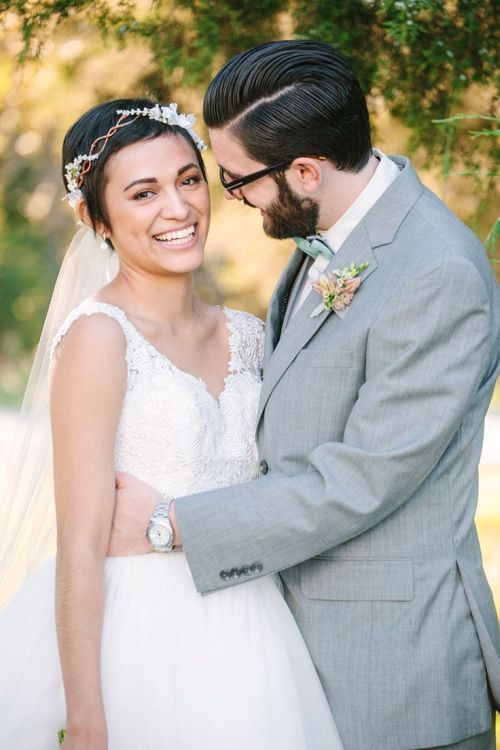 Image result for pixie cut and cathedral length veils