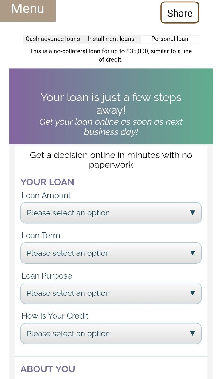 Form Personal Loan Collateral Loans Personal Loans Cash Advance Loans