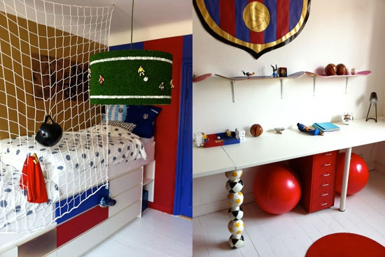 Sports theme with soccer goal netting and skateboard shelves!