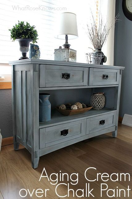 Aging Cream Finish over Chalk Paint using CeCe Caldwell's Dark Aging Cream. #DIY #Chalkpaint