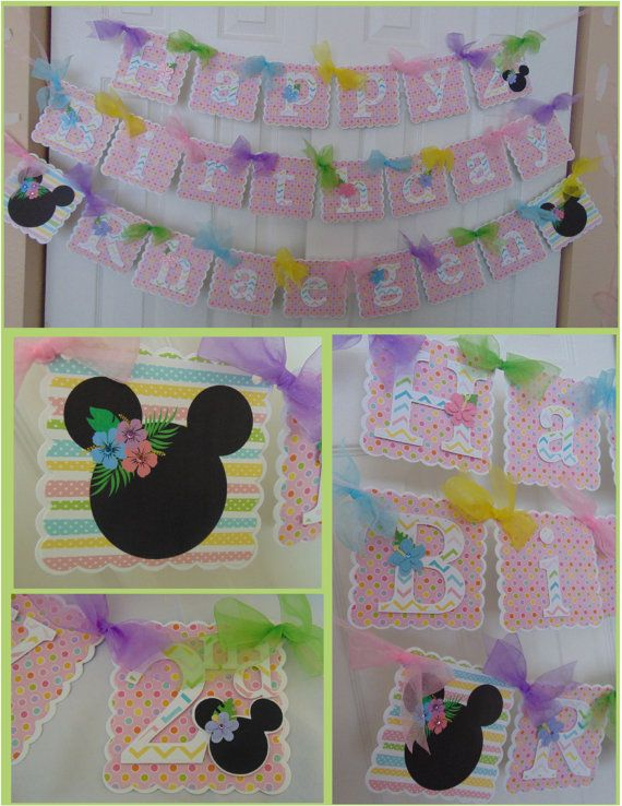 MInnie Luau Birthday Banner with name and age by ASweetCelebration