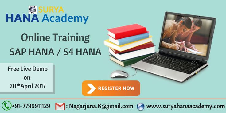 We are conducting  SAP HANA/S4HANA Live Demo  On Thursday (20 - April) at 8PM (IST)  Surya Hana Acadamy  SAP HANA / S4 HANA Online Training If learning is your desire, Teaching is our passion. Come and Join Us ! Register Now For Free LIve Demo.