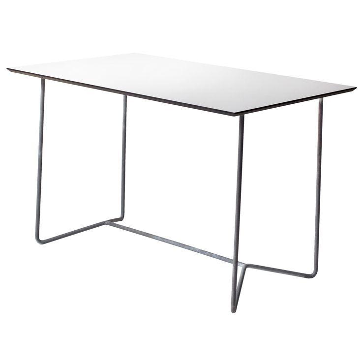 High Tech bord 110, hvitt/varmgalvanisert stativ – Grythyttan Stålmöbler – Kjøp møbler online på ROO