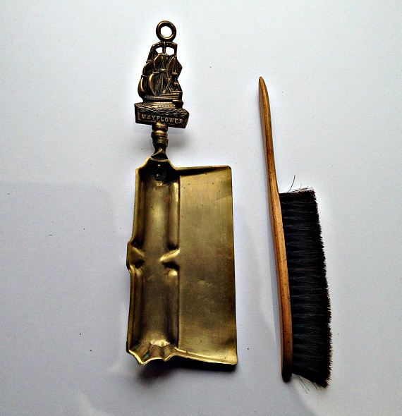 Brass Crumb Catcher And Brush, Vintage Dustpan And Brush, Brass Dustpan And Brush, Silent Butler, Art Deco Dustpan And Brush, Crumb Sweeper
