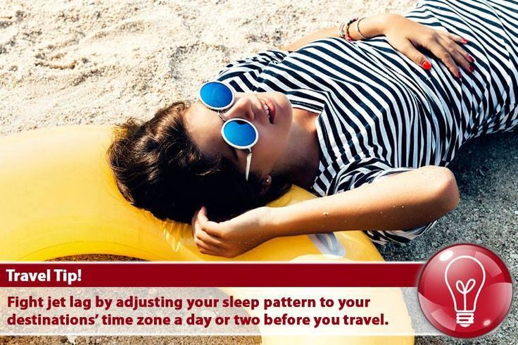 Fight jet lag by adjusting your sleep pattern to your destinations' time zone a day or two before you travel. #TravelTips #TourTravelWorldTips #Travel #TuesdayTips