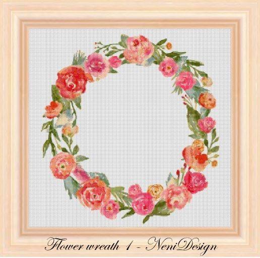 Flower wreath 1  cross stitch pattern  PDF pattern  instant