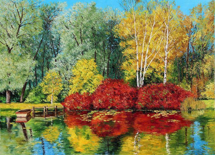 """""""Autumn pond"""" 73x100 cm Jean-Marc JANIACZYK French landscape painter"""