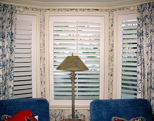 Here is a recent Danmer custom shutter installation for a living room bay window.  These custom shutters perfectly match the design and decor of this home.      *keywords: orange county shutters, orange county plantation shutters, OC shutters, orange county custom shutters