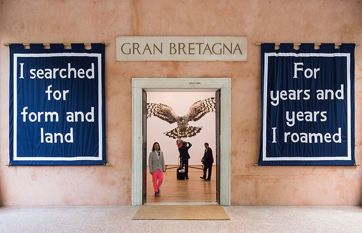 Great Britain pavilion : Jeremy Deller stands in the doorway to the British Pavilion