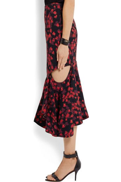 Givenchy - Cutout Ruffled Midi Skirt In Floral-print Stretch-satin - Red - FR34