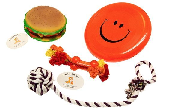 Everlast Pet Toys   Best Chew Squeak and Rope Bundle For Dogs   'Fat' Cheeseburger   'Smiley Face' Flying Disc   Guaranteed   Teether Bone Rope   Knotted Ball Loop Puller   Top Rated - 1 Seller >>> Want to know more, click on the image.