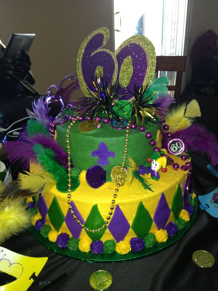 Mardi Gras Birthday Cake Cakes Pinterest Birthday