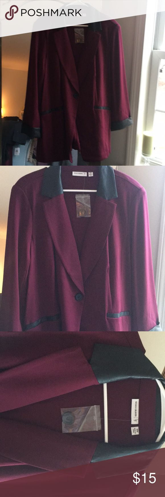 Susan graver blazer with faux leather trim Never worn still on Qvc website Jackets & Coats Blazers