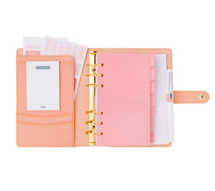 PERFORATED LEATHER PERSONAL PLANNER MEDIUM: PEACH
