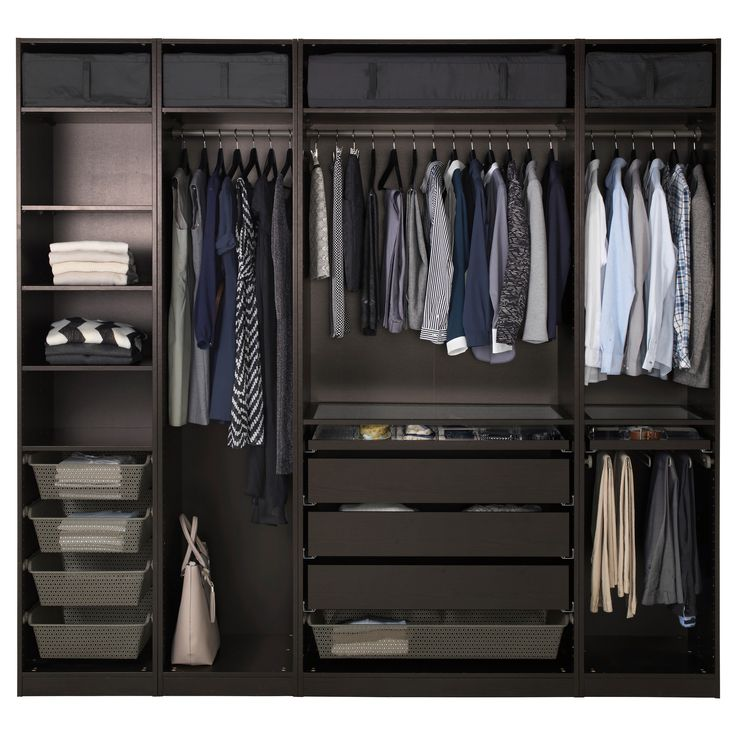"IKEA - PAX, Wardrobe, 98 3/8x22 7/8x93 1/8 "", , 10-year Limited Warranty. Read about the terms in the Limited Warranty brochure.You can easily adapt this ready-made PAX/KOMPLEMENT combination to suit your needs and taste using the PAX planning tool.If you want to organize inside you can complement with interior organizers from the KOMPLEMENT series.Adjustable feet make it possible to compensate for any irregularities in the floor."