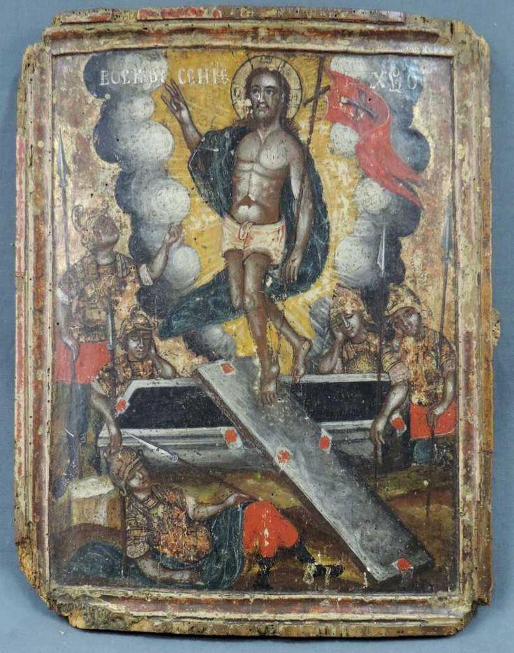 Lot 721 - Ikone. Auferstehung. Wohl Russland 17. Jahrhundert. 43 cm x 33 cm. Aufwendig bemalt. Altersspuren.