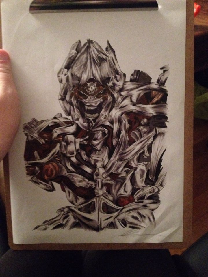 Drawed megatron with markers. Tok me a long time. Hope you like it