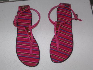 Rot gestreifte peruanische Flip Flops Sandalen aus Manta Stoff