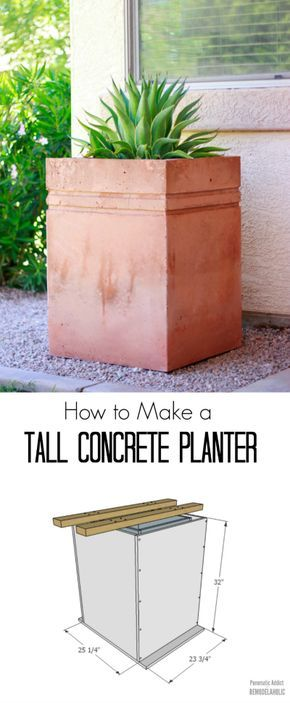 Rather than spending big bucks on a premade tall concrete planter, build this one this weekend and save some cash while creating just the size you need. Dyed concrete gives the planter a beautiful custom look!