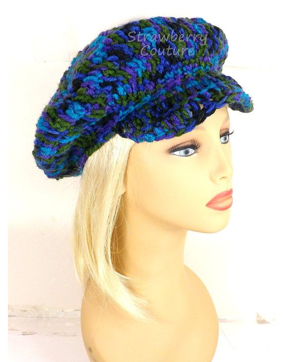 Click #strawberrycouture Peacock Crochet Hat Womens Hat Trendy  Sun Hat  Womens Crochet Hat  Crochet Newsboy Hat  Brimmed Beanie Hat  Peacock Hat  Annie by strawberrycouture