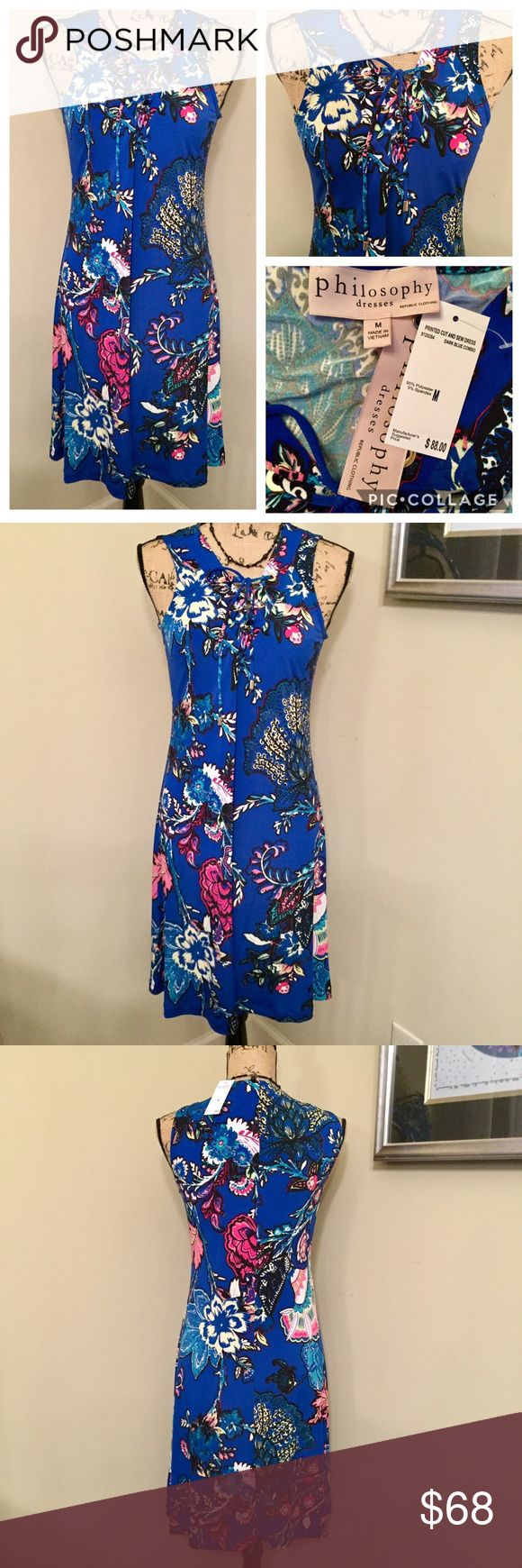 """🆕🎁 PHILOSOPHY Sleeveless Dress Sundress NWT PHILOSOPHY Dresses Republic Clothing Multicolored Sleeveless Dress / Sundress  Brand New With Tags  MSRP: $88.00 Plus Tax Size: Medium  Measurements: Armpit To Armpit: 17"""" Length: 37"""" (From Back Of Neck) Color: """" Dark Blue Combo"""" (Multicolored) Front Tie Neckline With Polished Gold Tone Grommets  Machine Wash Cold, Tumble Dry Low  Smoke Free Home 🛍Bundle & Save🛍 Philosophy Dresses Midi"""