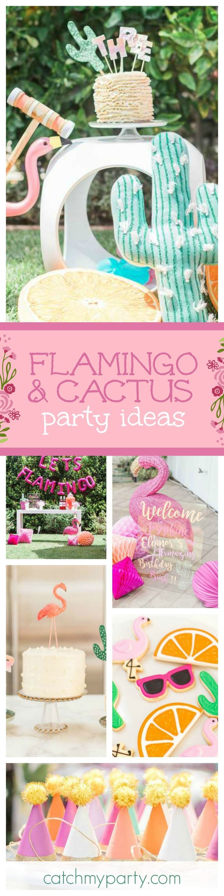 This Flamingo and Cactus party for 2 little girls is absolutely stunning! You will love it! The cakes are gorgeous as are the decorations!! See more party ideas and share yours at Catch http://MyParty.com