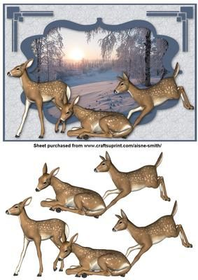 Winter Fawn on Craftsuprint designed by Aisne Smith - An A5 card front featuring a winter scene with fawns and decoupage pieces to enhance the overall card.  - Now available for download!