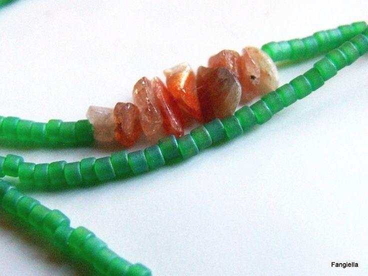 Cordon lunettes perles japonaises Miyuki Delica DB 858 pistache et Pierre de Soleil pierre semi-précieuse : Lunettes, lunettes de soleil, cordons par fangiella