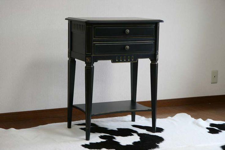 送料無料■新品■ブラックロココ サイドテーブル 花台■F6506BG ブラック