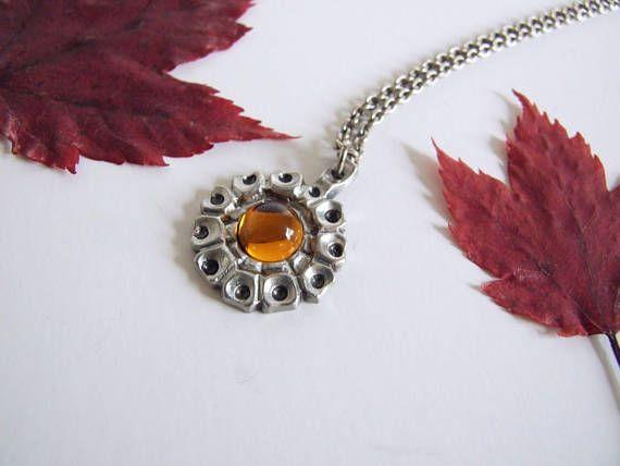 Scandinavian vintage necklace / / HW TENN Sweden pendant amber