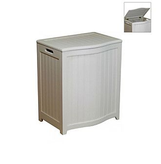 Oceanstar Bowed-Front White Laundry Hamper