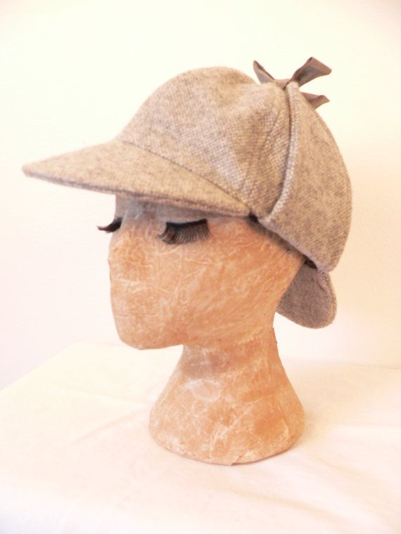 DEERSTALKER Grey Wool Tweed SHERLOCK HOLMES by HousewifeVintage, $29.00