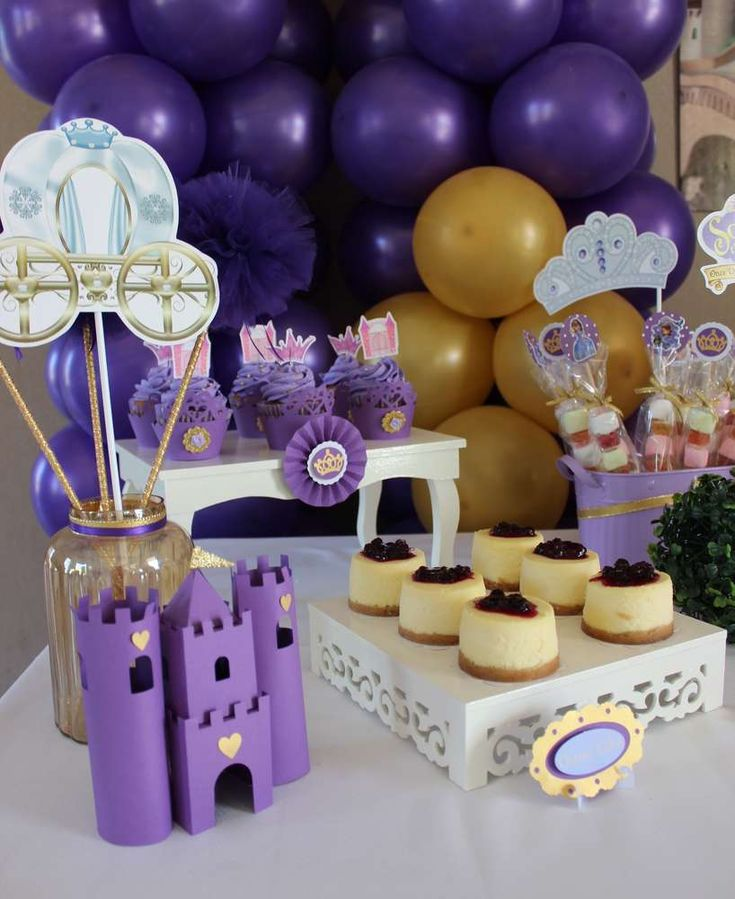 Pretty treats and decor at a Sofia the First birthday party! See more party ideas at CatchMyParty.com!