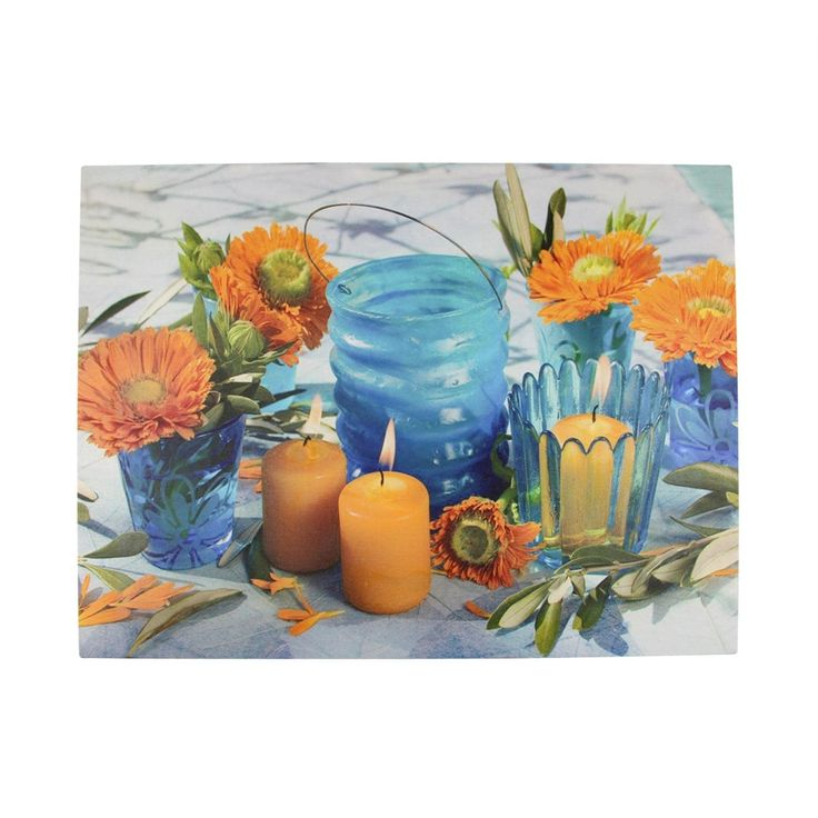"LED Lighted Flickering Candles and Flowers Glass Candles Canvas Wall Art 12"" x 15.75"", Turquoise"