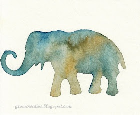 Awesome idea for watercolor paintings using stencils.  We're thinking animal-themed holiday cards over here...(and credit to Grow Creative for the inspiration!)