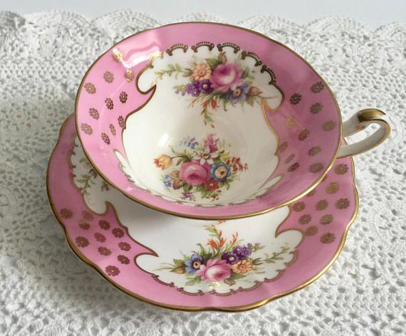Roze E hersenen Foley China thee kop en schotel