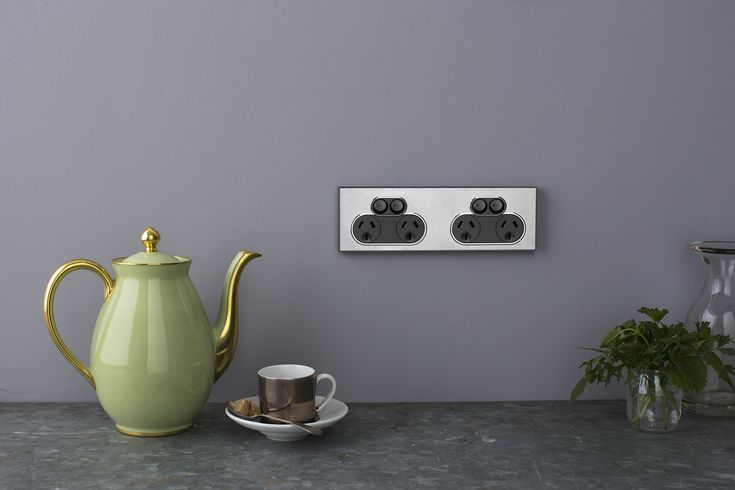 Saturn Horizon Silver quad socket - ideal for kitchens where more outlets are needed