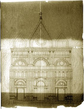 disegno originale del prospetto della madrice di Favara