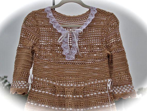 Boho Crocheted Short Dress Tea Stain Shabby Chic Dress Sweet Victorian Romantic Ribbon Weaving SIZE Small